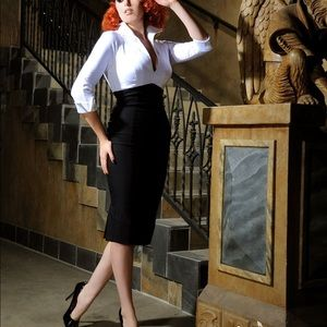 Pinup Couture Lauren Dress in White/Black. Size XS